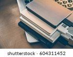 many external hard disk on...   Shutterstock . vector #604311452