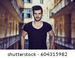 closeup portrait of handsome... | Shutterstock . vector #604315982