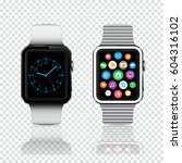 smart watches with icons and...   Shutterstock .eps vector #604316102