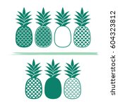 creative pineapples vector... | Shutterstock .eps vector #604323812