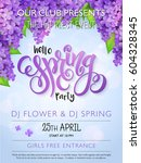 vector spring party poster with ... | Shutterstock .eps vector #604328345