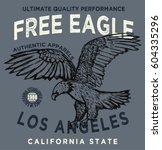 vintage college eagle print.... | Shutterstock .eps vector #604335296