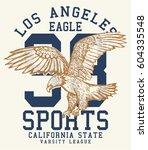 vintage college eagle print.... | Shutterstock .eps vector #604335548