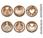 set of latte art coffee vector | Shutterstock .eps vector #604338695