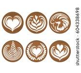 set of latte art coffee vector | Shutterstock .eps vector #604338698