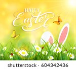 ears of an easter bunny and... | Shutterstock . vector #604342436