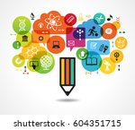 creative splash pencil with... | Shutterstock .eps vector #604351715