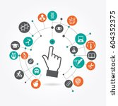 creative hand cursor iconl with ... | Shutterstock .eps vector #604352375