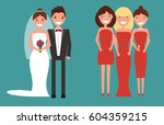 the set of newlywed couple and...   Shutterstock .eps vector #604359215
