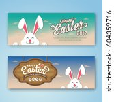 happy easter web banner with... | Shutterstock .eps vector #604359716