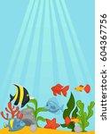send ocean bottom with green... | Shutterstock .eps vector #604367756