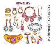 jewelry items vector flat... | Shutterstock .eps vector #604367762