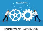 businessmen working together.... | Shutterstock .eps vector #604368782