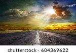 country road across the steppe | Shutterstock . vector #604369622