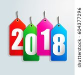 happy new year 2018 creative... | Shutterstock .eps vector #604377296