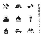set of 9 editable camping icons.... | Shutterstock .eps vector #604378472