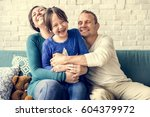 family spend time happiness... | Shutterstock . vector #604379972
