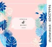 trendy summer tropical leaves...   Shutterstock .eps vector #604379996