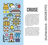 set of sea cruise cartoon style ... | Shutterstock .eps vector #604381952