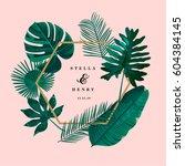 Trendy Tropical Leaves Vector Design