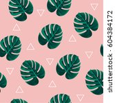 trendy tropical leaves vector... | Shutterstock .eps vector #604384172