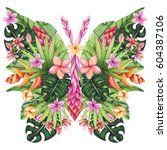 watercolor floral butterfly ... | Shutterstock . vector #604387106
