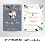 wedding pink blue template... | Shutterstock .eps vector #604388162