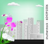 abstract  eco town ecology town ... | Shutterstock .eps vector #604391006