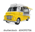 yellow food truck isolated. 3d... | Shutterstock . vector #604393706