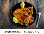 fresh lime and roasted salmon... | Shutterstock . vector #604399772