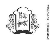 bon appetit. lettering with... | Shutterstock .eps vector #604407062