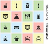 set of 16 editable travel icons.... | Shutterstock .eps vector #604407908