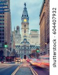 Small photo of Philadelphia's historic City Hall at dusk