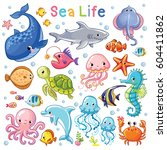 vector sea set. sea animal in...