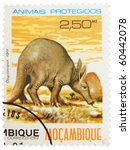 Small photo of MOSAMBIK - CIRCA 1981: A stamp printed in Mosambik showing Aardvark, circa 1981