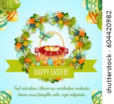 easter egg hunt basket greeting ... | Shutterstock .eps vector #604420982