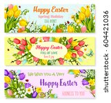 happy easter greeting banners... | Shutterstock .eps vector #604421036