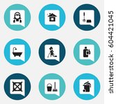 set of 9 editable cleanup icons.... | Shutterstock .eps vector #604421045