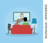 watching tv at home. man  woman ... | Shutterstock .eps vector #604426802