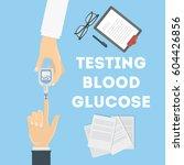 blood test for glucose. doctor... | Shutterstock .eps vector #604426856