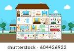 house interior set. outside the ...   Shutterstock .eps vector #604426922