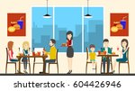 people in fasy food cafe sit... | Shutterstock .eps vector #604426946