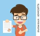 schoolboy got a mark for the... | Shutterstock .eps vector #604426976