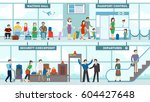 airport interior set. waiting... | Shutterstock .eps vector #604427648