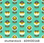 seamless retro pattern with... | Shutterstock .eps vector #604430168