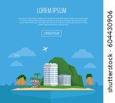 tropical island web banner.... | Shutterstock .eps vector #604430906