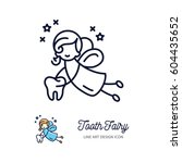 tooth fairy thin line art icons ... | Shutterstock .eps vector #604435652