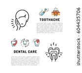 toothache icons dental care... | Shutterstock .eps vector #604435706