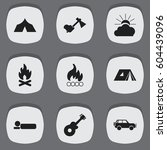 set of 9 editable trip icons.... | Shutterstock .eps vector #604439096