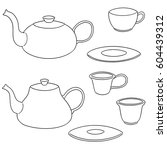 vector set of coffee or tea set | Shutterstock .eps vector #604439312